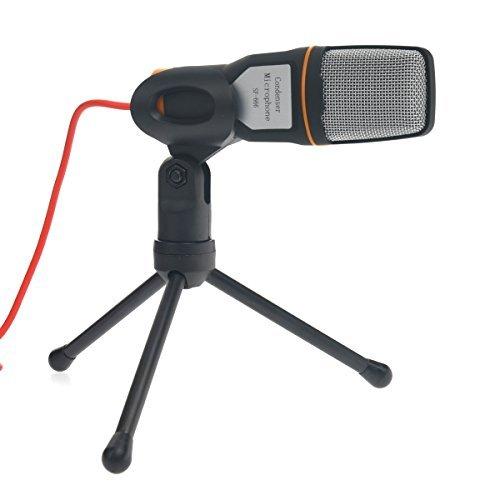 Foxnovo Portable 3,5 mm Stereo-Kondensator-Recording-Mikrofon mit Mini-Stativ für den Chat
