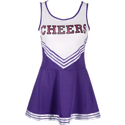 CWLN002 COLLEGE SPORTS PURPLE High School Cheerleader Ladies Girls Fancy Dress Costume Outfit Size L With Pom Poms