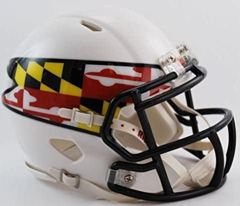 MARYLAND TERRAPINS NCAA Riddell Revolution SPEED Mini Football Helmet (MATTE WHITE) by ON-FIELD
