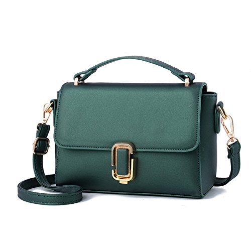 FZHLY 2017 In Pelle New Spring Piccola Piazza Del Signore PU Buckle Messenger Bag,LakeBlue DarkGreen