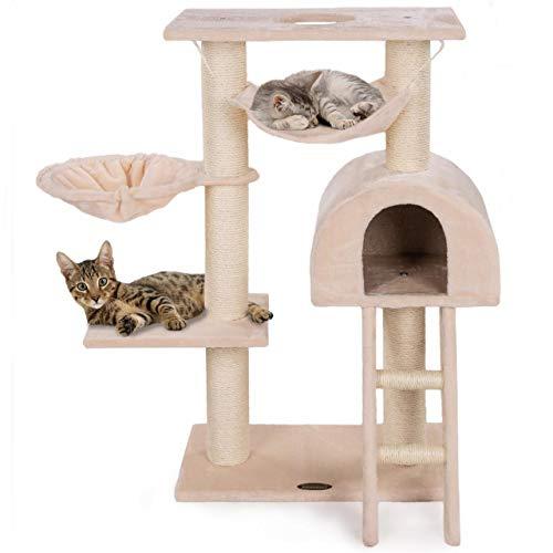 Happypet® Kratzbaum für Katzen klein 100 cm hoch, CAT018, platzsparender Kletterbaum Katzenbaum, extra Dicke und stabile Säulen mit Natur-Sisal ca. 9 cm, Liegemulde, Haus, Treppe, Hängematte, BEIGE
