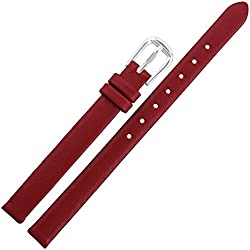10mm Red Genuine Leather Black Ladies Womens Watch Band Strap Band Wristwatch
