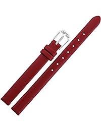 10mm Rouge en cuir véritable noir pour femme Mesdames Bracelet de Montre Bande de montre-bracelet