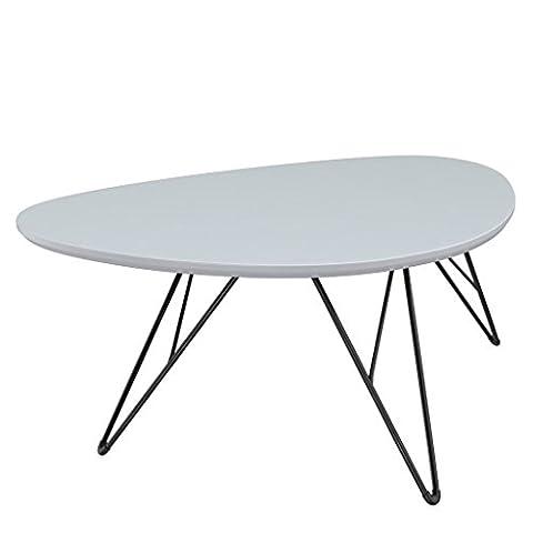 bonVIVO Design-Couchtisch RAY, Beistelltisch/ Nierentisch im 50er Jahre Retro-Look in weiß-grau und Metall-Füßen in schwarz/ black (60 x 40 cm)