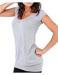 KRISP® Womens Short Sleeve Long Top T-Shirt V-Neck Summer Jersey Blouse