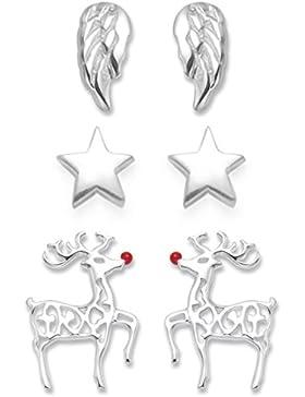 Sterling Silber Ohrringe Ohrringe Set: Stern Weihnachten, Rudolph Red Nosed Rentier Ohrringe und Engel Flügel...