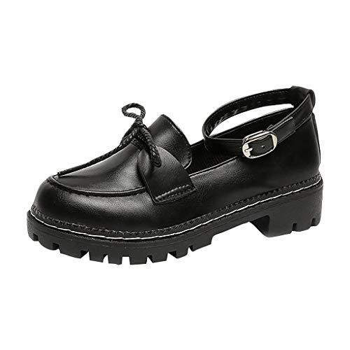 Eaylis Schuhe Cosplay Normallackwortschnalle des Kleinen MäDchens Mit Niedrigem Quadrat des Runden Kopfes Mit Kleinen Schuhen des Einzelnen Schuhhochschulwinds