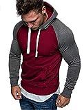 Sweat à Capuche Hommes Pull Sweatshirt Manche Longue Vêtements de Sport pour Couples avec Grosse Poche Hoodies Homme (Rouge, M)...