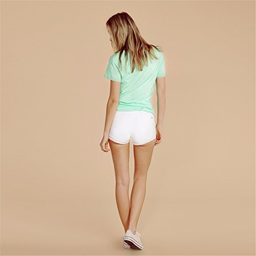 T-Shirt New Femmes Lettre Imprimee A Manches Courtes Col Rond Slim Skinny Top Blouse Vert