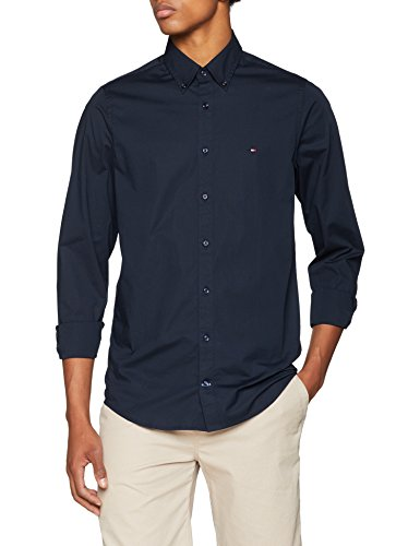 Tommy hilfiger core stretch slim poplin shirt camicia sportiva, blu (sky captain 403), x-large uomo