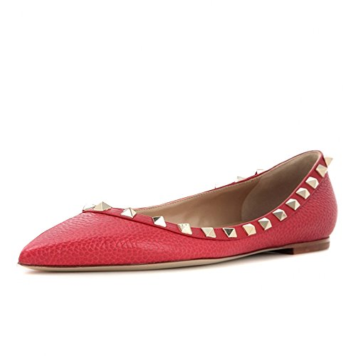 Lutalica Frauen Stilvolle Nieten Tägliche Lässig Spitze Ballerinas Pumps Schuhe Linien Rot Größe 44