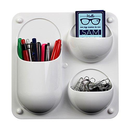 Wandbefestige Organizer Behälter mit 3 Abteilen für die Lagerung von Stiften, Haftnotizen und anderem Zubehör für Büros, Zuhause, Klassenzimmer und Schlafsäle