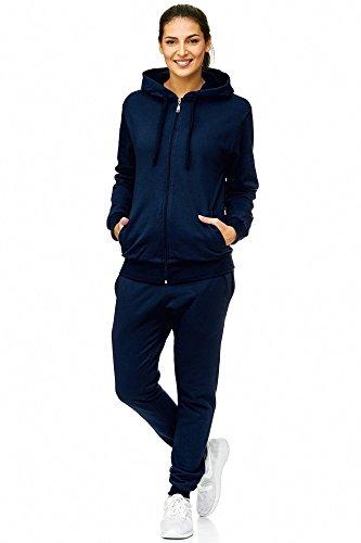 Violento Damen Jogging-Anzug | Uni 586 | Trainings-Anzug aus 100% Baumwolle | Trainings-Jacke mit Reißverschluss | Jogging-Hose mit Tunnelzug und Zugband | (3XL, Navy)