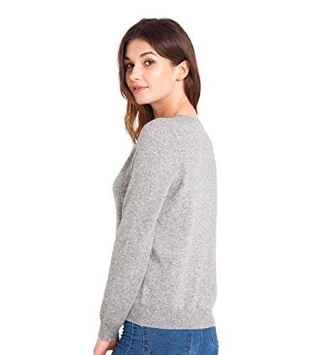 WoolOvers Cardigan luxueux à col rond - Femme - Cachemire & Mérinos Flannel Grey