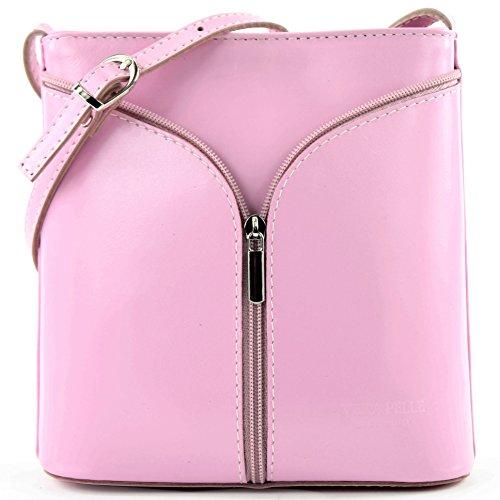 Borsa a tracolla piccola per donna, pelle italiana Strauß D19 Rosa