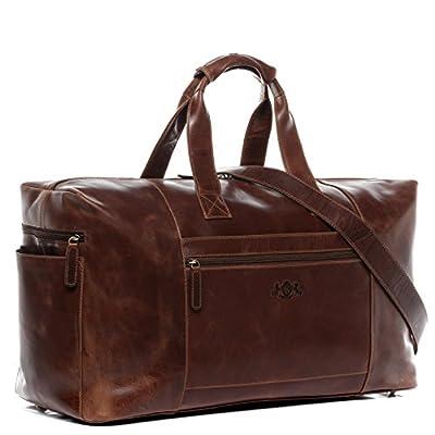 SID & VAIN® grand sac de voyage BRISTOL - grand fourre-tout besace week-end - sac sport bagages cabine à main homme femme châtain clair cuir
