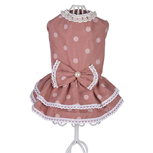 PZSSXDZW Pet Kleidung Frühling und Sommer Gefüllter Polka-Dot-Rock Hundebekleidung Pet Kleidung Heimtierbedarf Pink X-Large