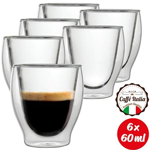 Caffé Italia Milano 6 x Tasse Double Paroi 60 ML - Tasse Expresso 8 cl - Espresso en Verre - Coffret de 6 Tasses à Café Double Paroi - Cadeau Parfait pour Toute Occasion