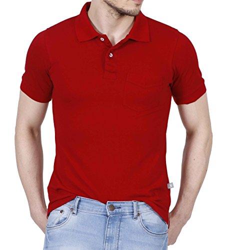 Fanideaz Men's Red Color Premium Polo Tees for Men with Pocket M