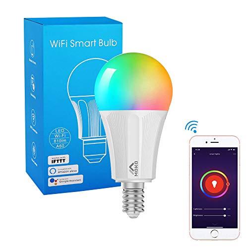 MoKo WLAN Smart Birne, E14 9W Dimmbar LED Farblicht Warm Licht, APP-Fernbedienung und Sprachsteuerung, Kompatibel mit Alexa Echo Google Home & IFTTT, ohne Hub Benötig, Weiß