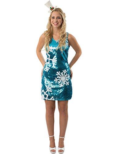 Damen Blau Pailletten Gefroren Schneeflocke Weihnachten Mini Kleid (Erwachsene Gefrorene Kleider Für)