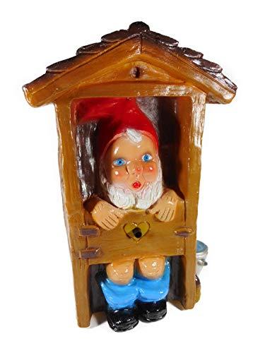 Deko Bewegungsmelder Zwerg WC Haus pfeift 30 x 20 cm 650 Gr. Figur Germany PVC GRS 0866BWM