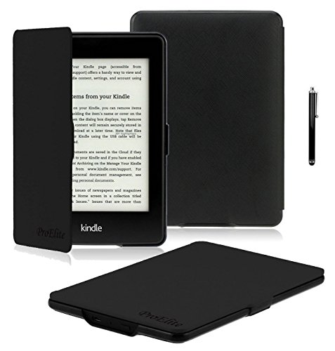 ProElite Ultra Slim Flip Case Cover for Amazon Kindle E Reader 6' 8th Generation 2016 Launch (Black, Auto Sleep Wake with magnetic lock) with Stylus Pen [will NOT FIT Paperwhite]