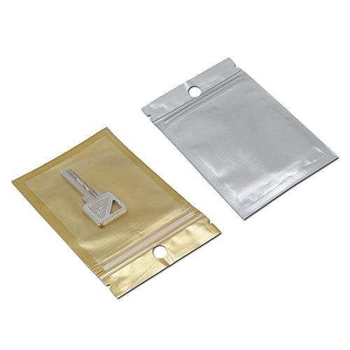 "7.5x12cm (3\""x4.7\"") Goldene / Klar Selbst Seal Reißverschluss Keramischen Kunststoff Pack Tasche Zipock Schloss Tasche Handy Hülle Verpackungen Mit Loch Hängen Plastik Beutel (100)"