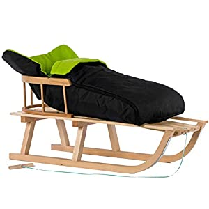 123home24.com Schlitten Holzschlitten mit Rückenlehne mit Winterfußsack Schlitten Holz | 11 Farben