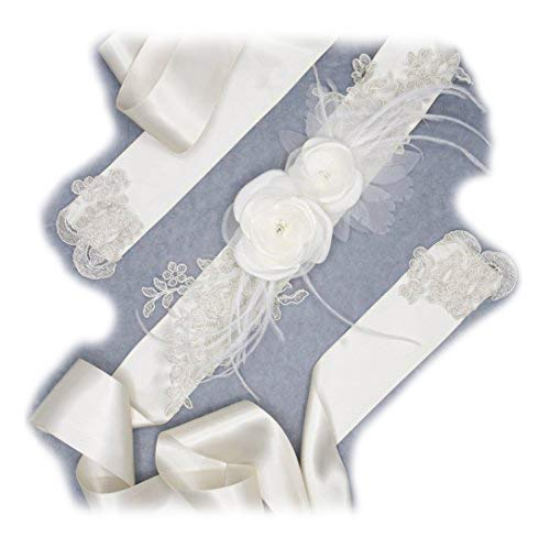 Gürtel Hochzeit: Taft/Organza Blume und Feder Elfenbeinfarben Perlen Kristall, Spitze Beige/Silber, Satin-Schleifenband. (Taft Perlen)