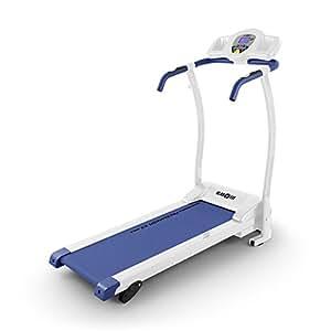 Klarfit Pacemaker X3 • Tapis de course pliant • Home trainer • 1,5 ch • 0,8 - 12 km/h • Cardiofréquence mètre • LCD • 12 programmes • Capteur de pouls • Inclinaison : 3, 5 ou 7 % • Blanc / bleu