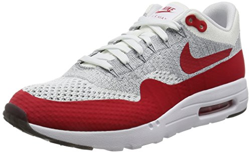 Nike Herren Air Max 1 Ultra Flyknit Laufschuhe, Orange, 45 EU Weiß (Weiß / University Red-Pure Platinum)