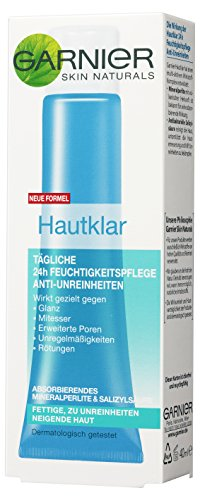 Garnier Hautklar 24h Feuchtigkeitspflege Gesicht Anti-Unreinheiten / Gesichtscreme für fettige + zu Unreinheiten neigende Haut, 3er Pack - 3 x 40 ml