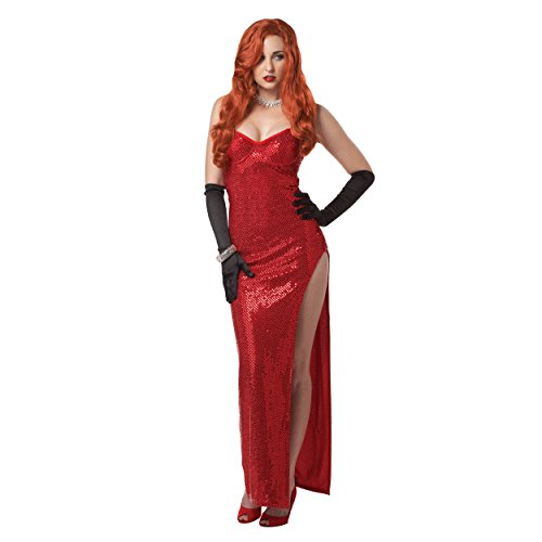 Jessica Rabbit Damen Kostüm Kleid rot Sexy Pailletten die gerahmt Roger Erwachsene Fancy Kleid Gr. Small, ()