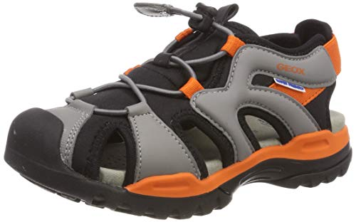 Orange Jungen Sandalen (Geox Jungen J Borealis Boy C Geschlossene Sandalen, Grau (Black/Orange C0038), 32 EU)