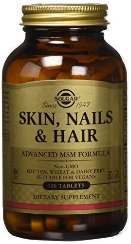 Solgar, Haut, Nägel und Haar, verbesserte MSM-Formel, glutenfrei, sojafrei, 120 vegane Tabletten