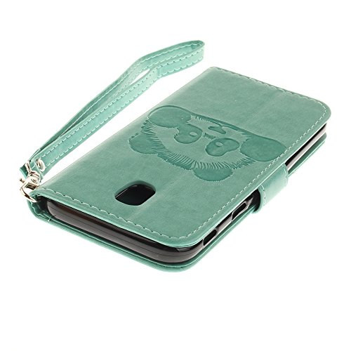 Solid Color Embossed Panda Pattern Horizontale Folio Flip Stand Brieftasche Case Cover mit Card Slots & Lanyard für Samsung Galaxy J5 2017 J530 Europäische Version ( Color : Black ) Green