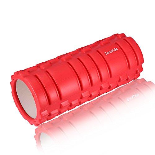 ZeroVida Rodillo de Espuma Yoga Roller para Terapia de Masaje Diseño de Rejilla Masaje Muscular Masaje de Pies Espalda Piernas Cintura Abdomen, Ideal para Fitness Pilates Yoga, 33 x 14 cm, Rojo