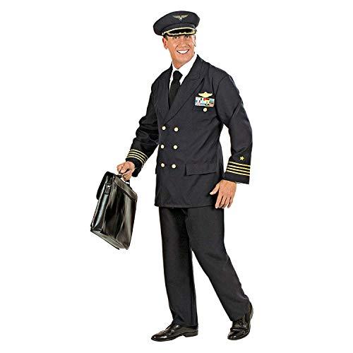 Nerd Clear Piloten Kostüm für Männer | 3-teiliges Set: Jacke mit Abzeichen, Hose und Piloten-Kappe: Größe: L