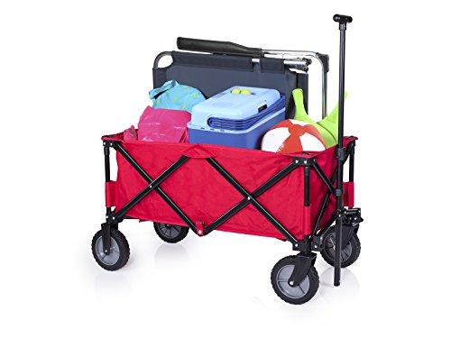 Campart Travel klappbarer Strandwagen/Bollerwagen - 70 Kilogramm Belastbarkeit - Rot mit Tasche, HC-0911