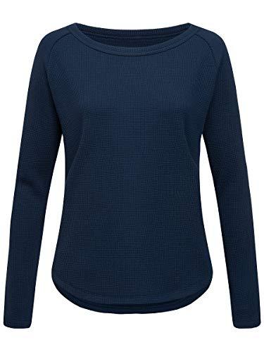 super.natural Bequemer Damen Pullover, Mit Merinowolle, W WAFFLE SWEATER, Größe: L, Farbe: Dunkelblau