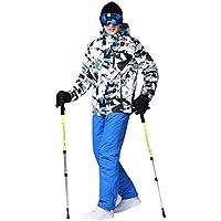 Conjunto de Traje de esquí, Trajes de esquí Profesional de Nieve Adultos, Chaqueta de esquí Salvaje para Hombre, Pantalones de esquí al Aire Libre a Prueba de Viento para Hombre Negro Azul M
