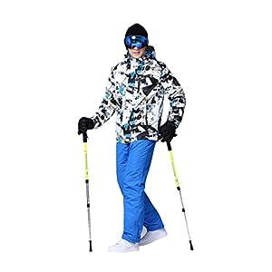 Formulaone Skianzug Set, Schnee Professionelle Skianzüge Erwachsene, Wild Ski Jacke Herren, Outdoor Windproof Skihose für Männer Schwarz Blau M