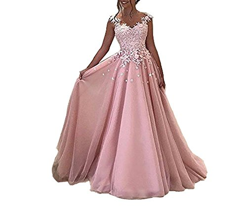 Cloverbridal Damen Rosa Grau Lange Prom Kleider Lace Appliques Abendkleid Cocktailkleid (Tüll Abendkleider Prom)