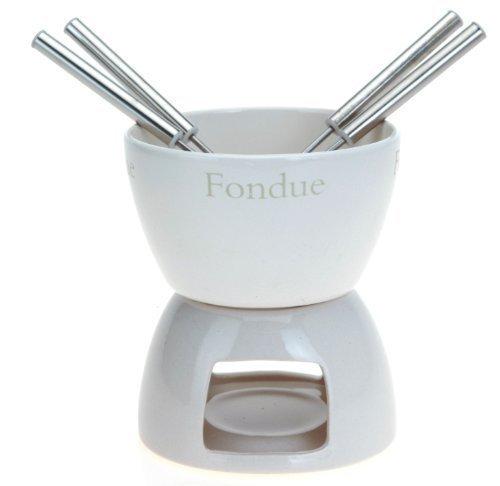 eBuyGB Käse Schokolade Teelicht Fondue-Set mit 4 Gabeln, Keramik, Weiß