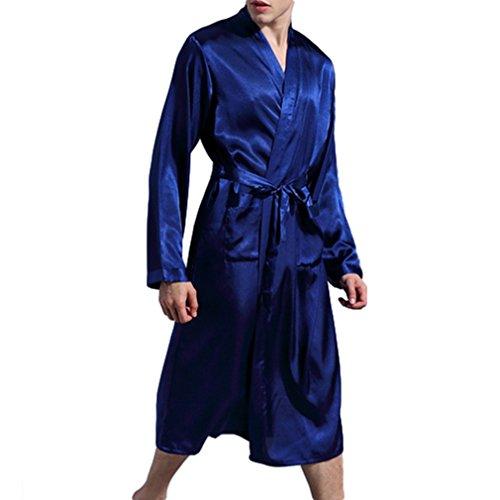 Preisvergleich Produktbild juqilu Herren Bademantel Morgenmantel Mit Gürtel Knielangen Nachtwäsche Elegant Luxus Soft Pyjamas