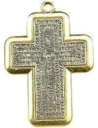 Collar Colgante Padre Nuestro De Forma Cruzada Española Grabado De La Oración