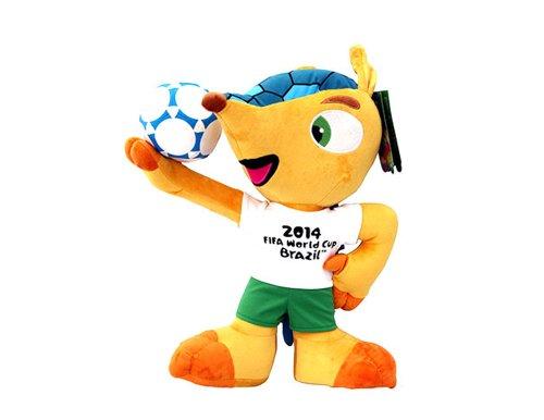 FIFA Fuleco Fußballweltmeisterschaft Brasilien 2014Plüsch Spielzeug mit Ball, Unisex, Fuleco 2014, gelb -