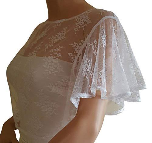 Meibida scialle in pizzo sciallato con scialle da sposa bianco avorio (bianco, 14)