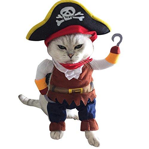 CautPY Piraten-Anzug, Piratenhut, Welpen, Party, Kleidung für Katzen, Cosplay, ()